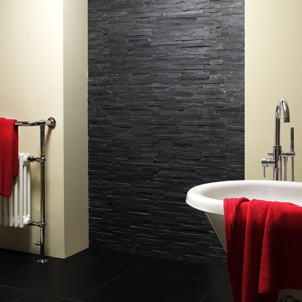 Black Split Face Slate Cladding 100x360mm
