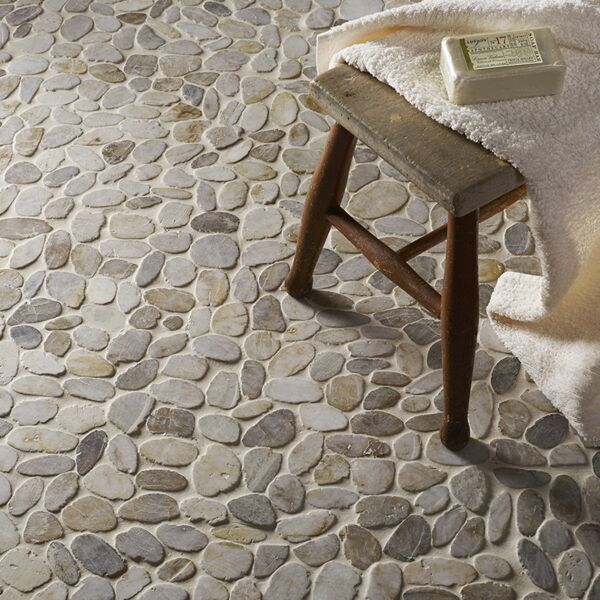 Riverstone White Flat Cut Pebble Mosaic - Large CPT02
