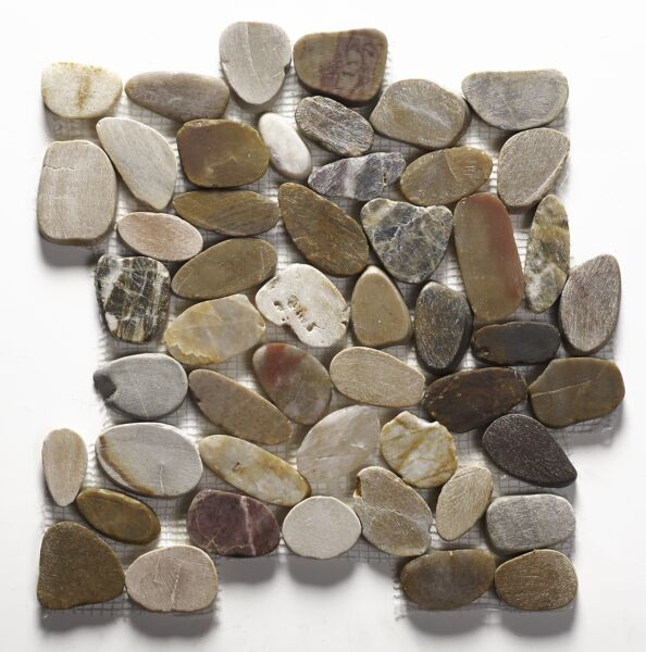 Riverstone Multi Colour Flat Cut Pebble Mosaic - Large CPT05