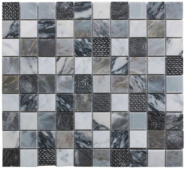 Illusion Grey Polished Marble & Resin Mosaic 23x23mm