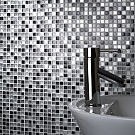 Sparkle Chrome/Black/White Glass/Metal Mix Mosaic 15x15mm