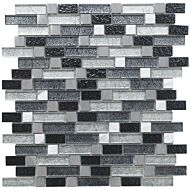 Atlas Fusion Grey Glass/Metal Mix Offset Linear Mosaic