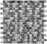 Chic Black Mix Glass & Stone Mini Brick Mosaic 15x30mm