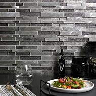 Ashby Grey Glass & Metal Mix Offset Linear Mosaic
