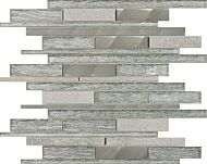 Kenton Silver Glass/Stone/Metal Mix Offset Linear Mosaic