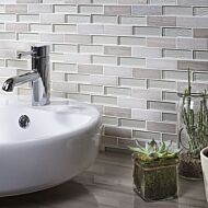 Bailey Grey/White Glass & Stone Mix Brick Mosaic 20x73mm