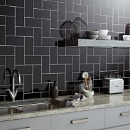 Central Black Ceramic Wall Tile 100x200mm