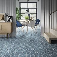 Sunburst Sea Blue Porcelain Hexagon Wall & Floor Tiles