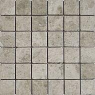 Silver Shadow Grey Tumbled Marble Mosaic 50x50mm