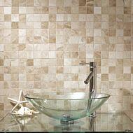 Vanilla Cream Tumbled Marble Mosaic 50x50mm