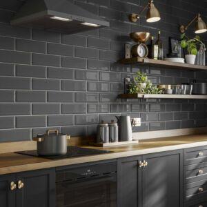 P11545 Metro Dark Grey Ceramic Wall Tile 100x300mm