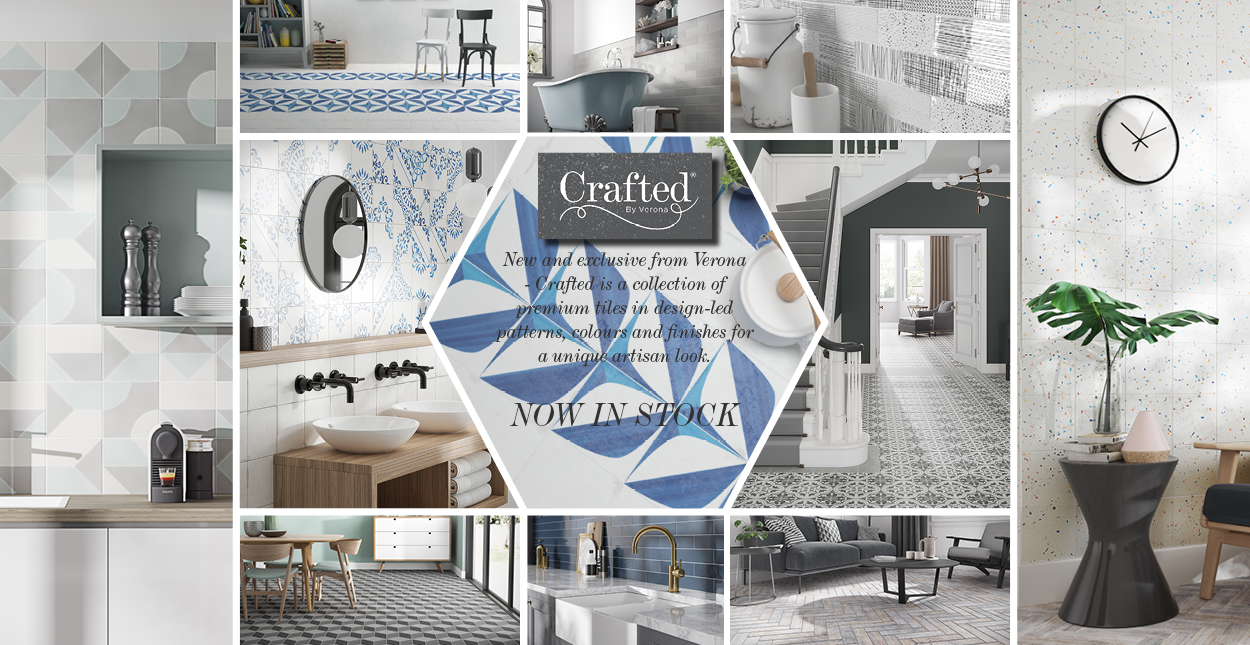 New and exclusive from Verona, Crafted is a collection of premium tiles in design-led patterns, colours and finishes for a unique artisan look