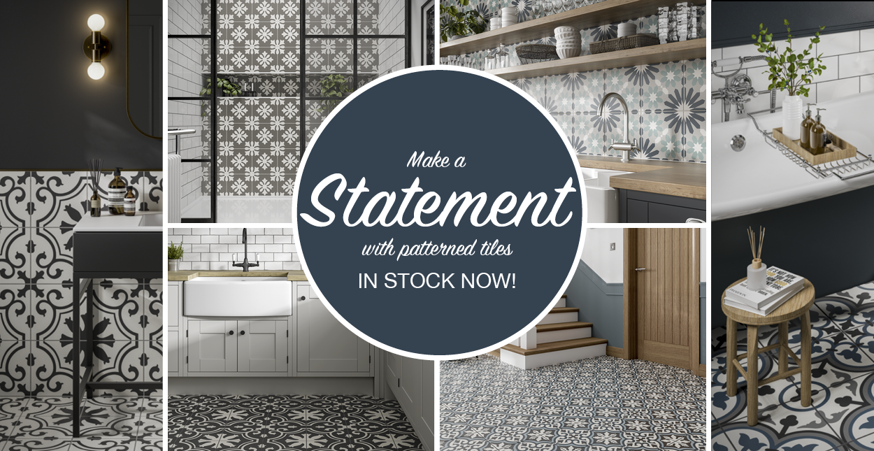 Make a statement with patterned tiles... In stock now!